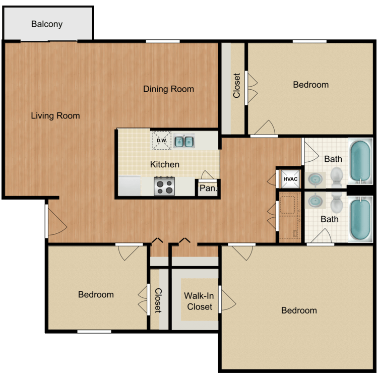 3 Bed 2 Bath floor plan image