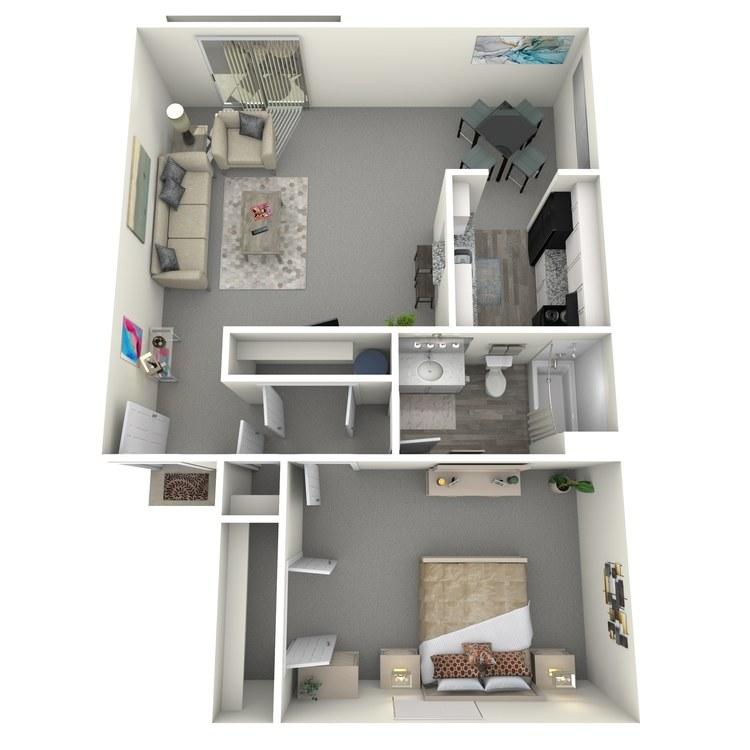 1 Bed 1 Bath A floor plan image