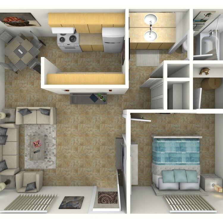 Floor plan image of 1 Bed 1 Bath Deluxe