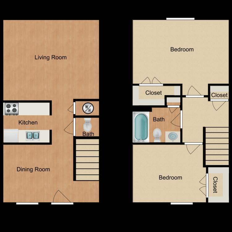 Floor plan image of 2 Bed 2.5 Bath