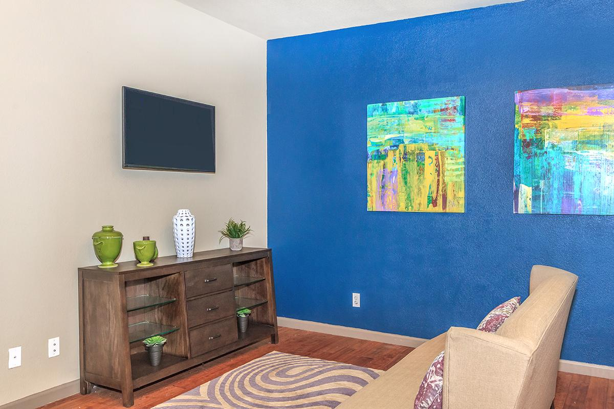 a painting of a blue room