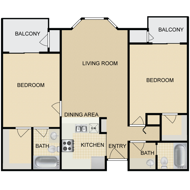 Floor plan image of 2 Bed 2 Bath C