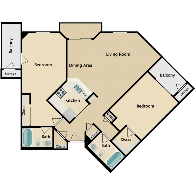 Floor plan image of 2 Bed 2 Bath Corner