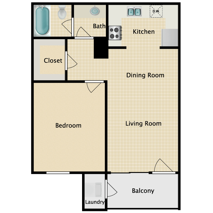 Floor plan image of 1 x 1 B