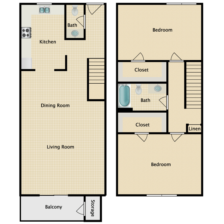 Floor plan image of 2 x 1.5