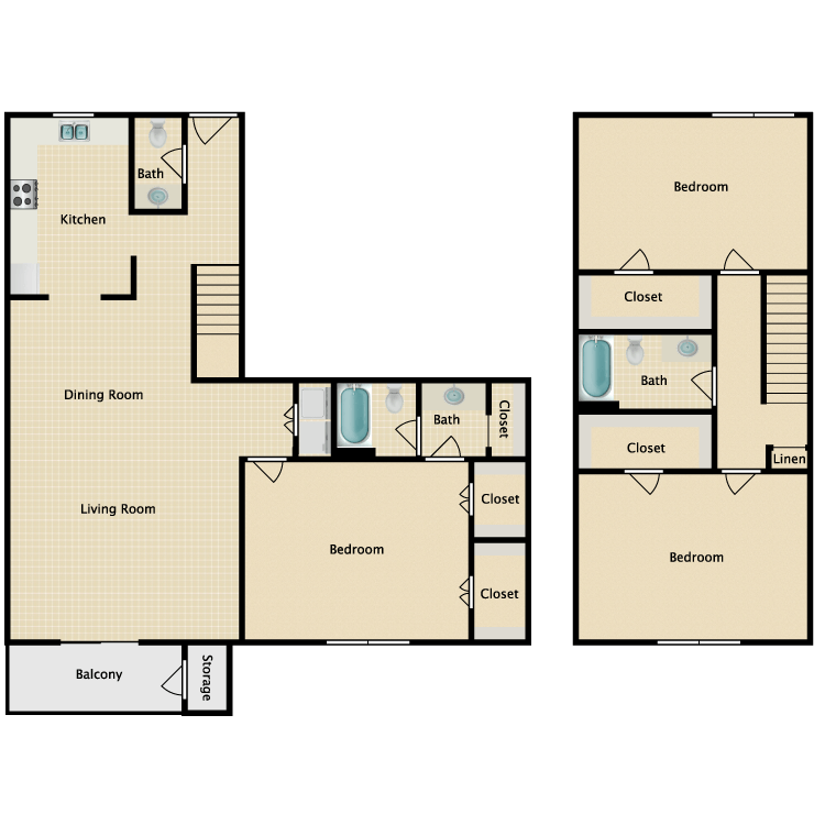 Floor plan image of 3 x 2.5 Townhome