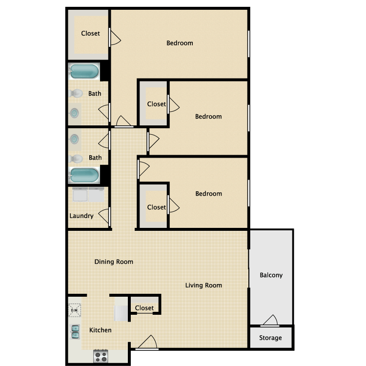 Floor plan image of 3 x 2 Flat