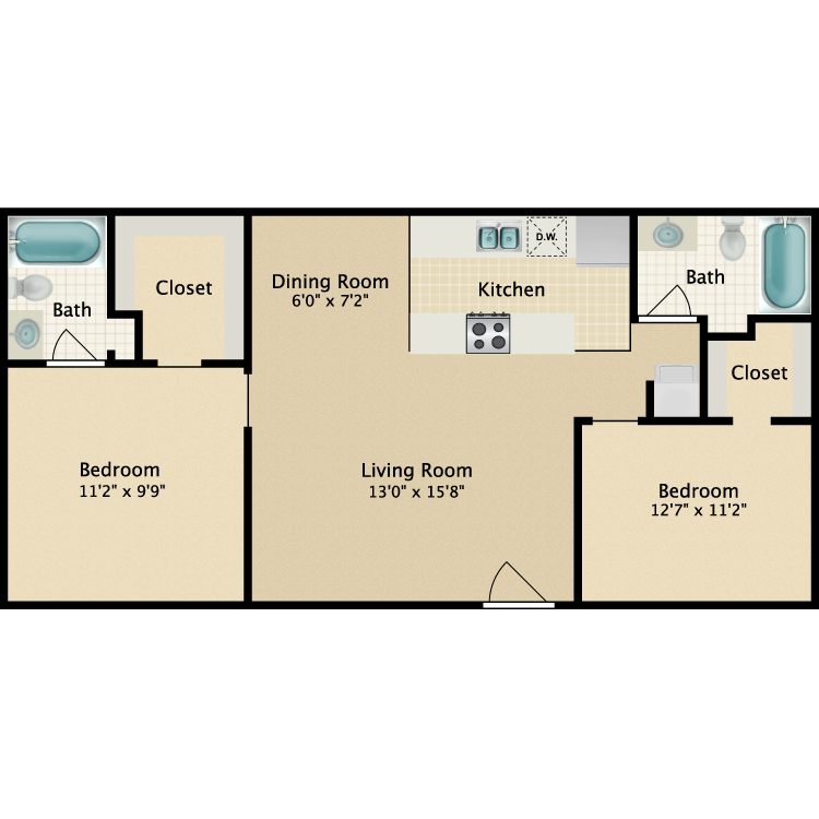 Floor plan image of 2 Bed 2 Bath Small