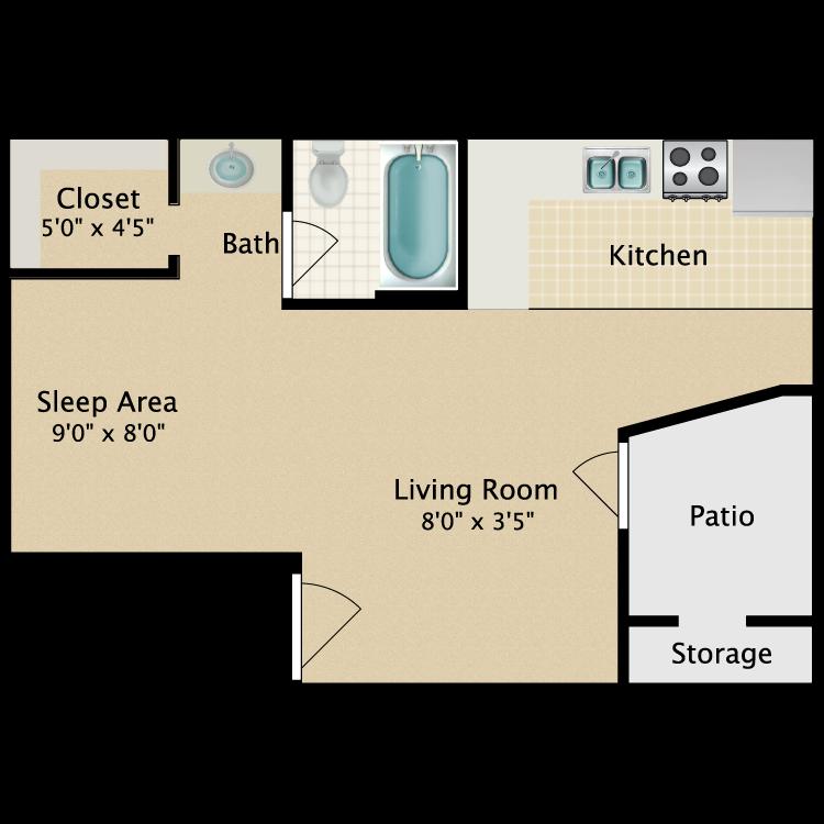 Floor plan image of Efficiency/Studio