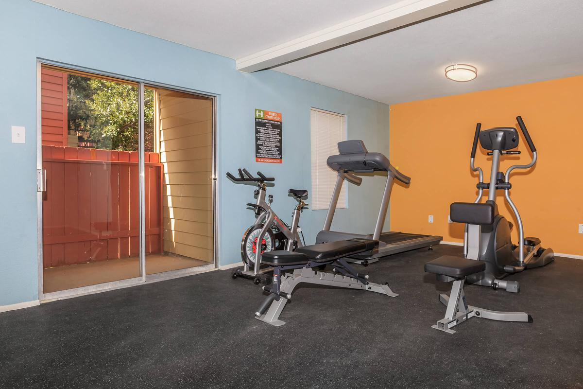 Fitness equipment near outdoor patio at The Park at Summerhill Road