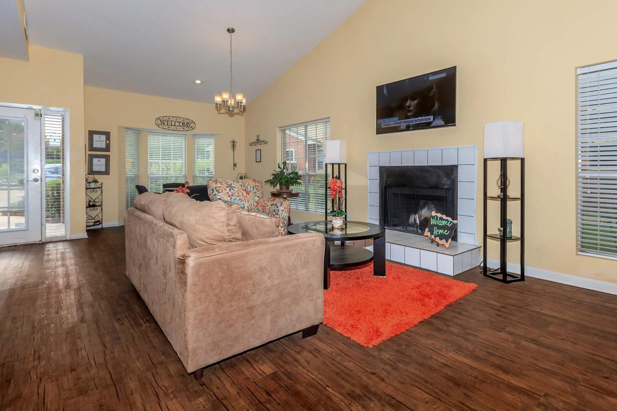 Lounge area in front of the fireplace at The Park at Summerhill Road