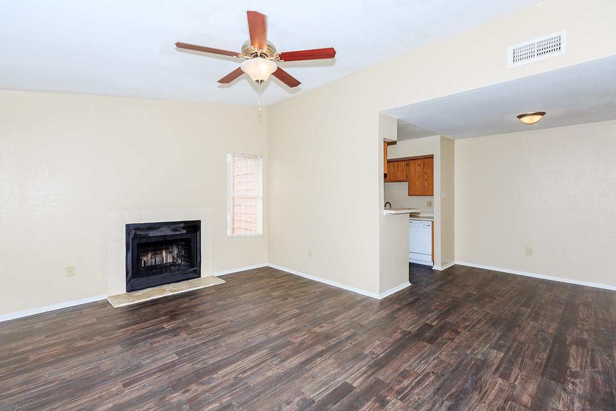 a living room with a wood floor