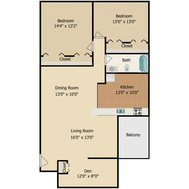 Aspen + Den floor plan image