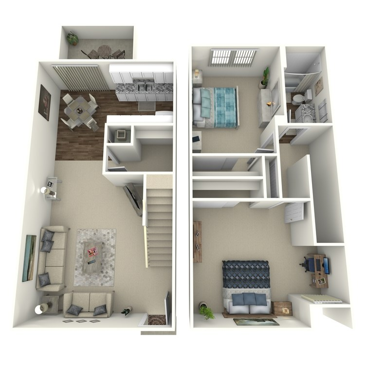 Floor plan image of 2 Bed Townhome