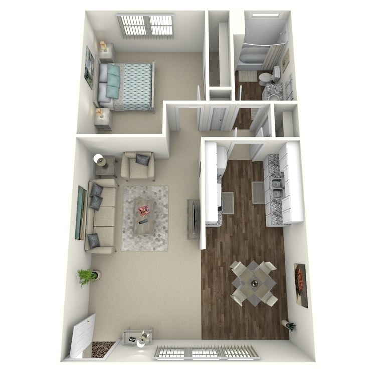 1 Bed 1 Bath B floor plan image