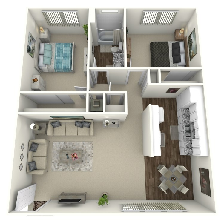 2 Bed 1 Bath A floor plan image