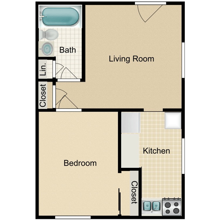 1 Bed 1 Bath Classic floor plan image