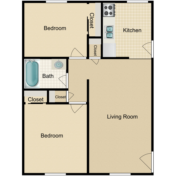 2 Bed 1 Bath Remodeled floor plan image