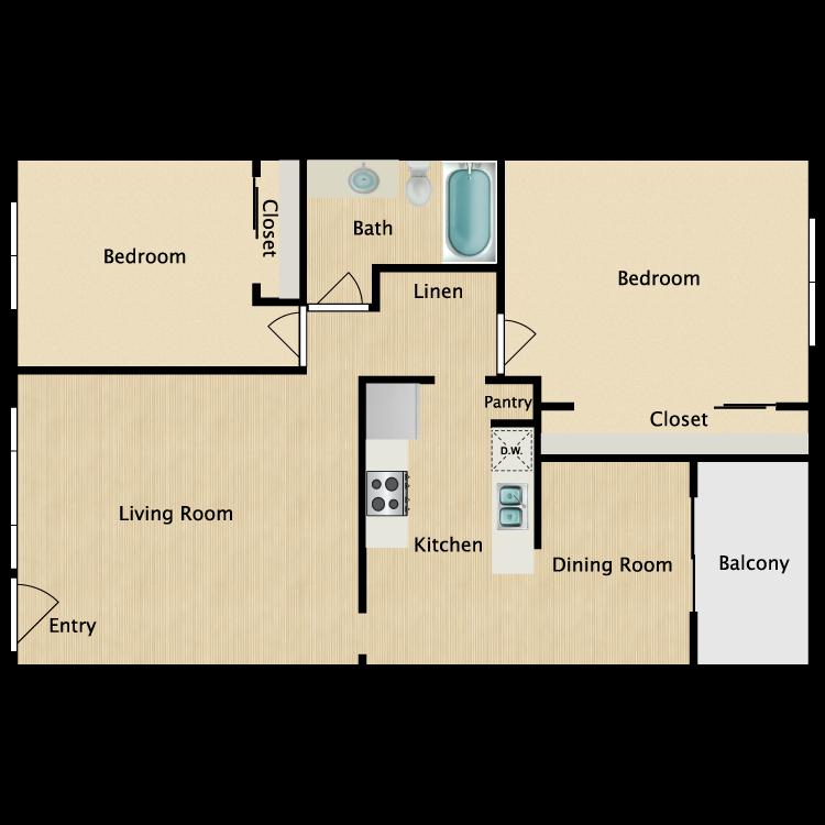 Floor plan image of 2 Bed 1 Bath D