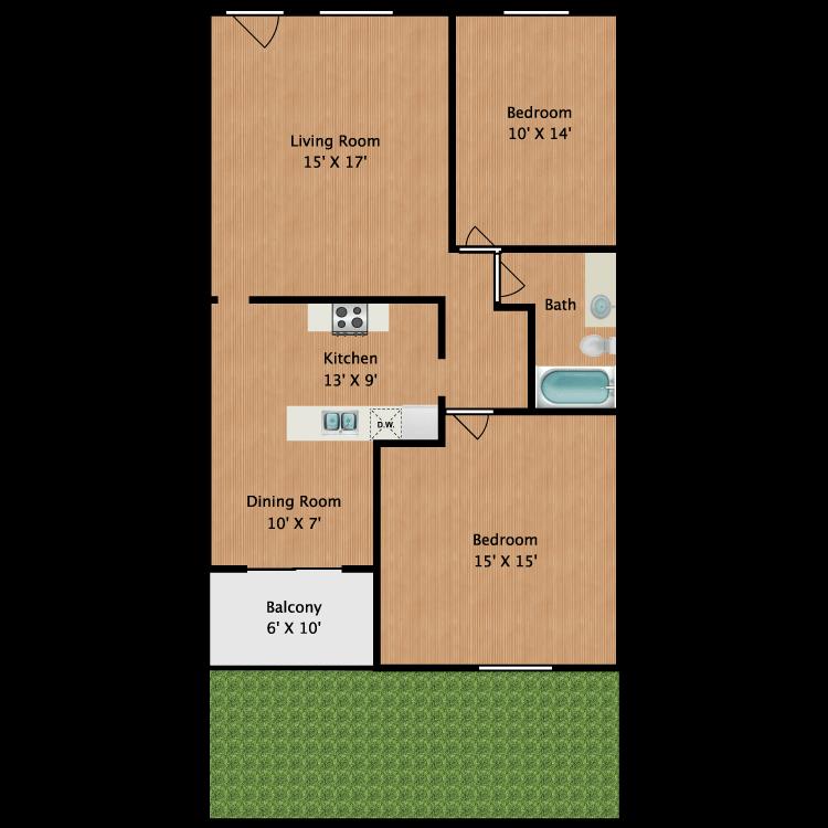 Floor plan image of 2 Bed 1 Bath E