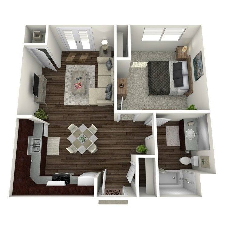 Floor plan image of 1 Bed 1 Bath Low Income Unit