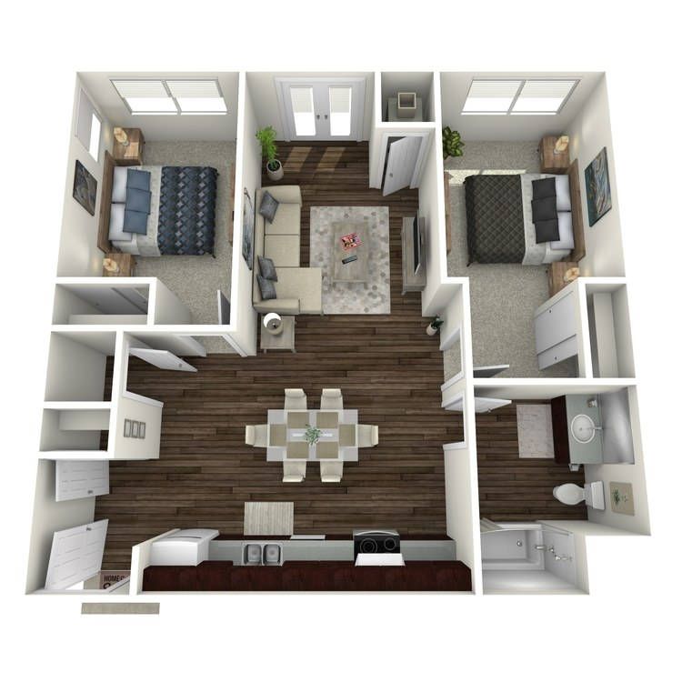 Floor plan image of 2 Bed 1 Bath Low Income Unit