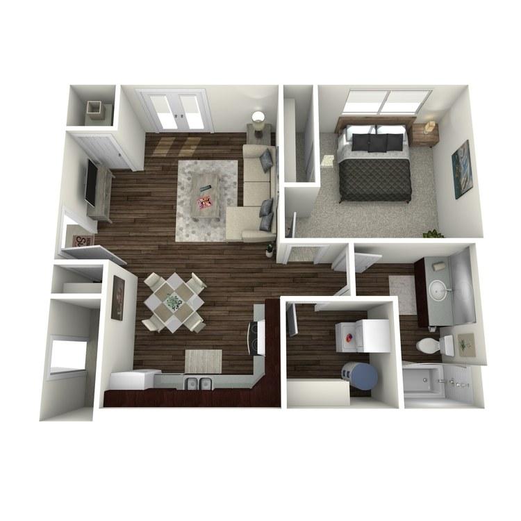 Floor plan image of 1 Bed 1 Bath B Workforce  Unit