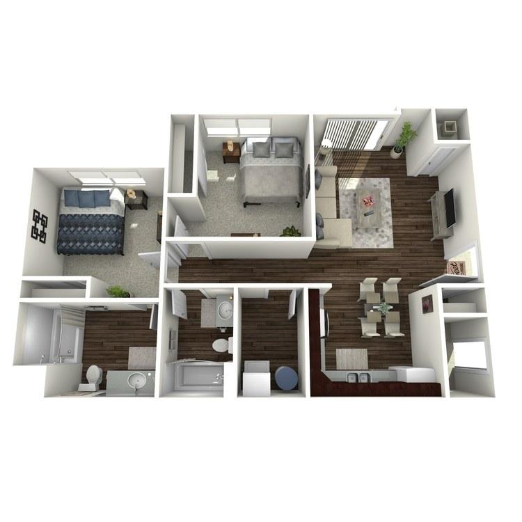 Floor plan image of 2 Bed 2 Bath Workforce Unit