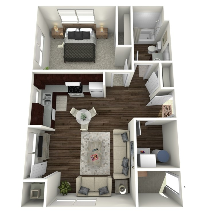 Floor plan image of 1 Bed 1 Bath A Workforce Unit