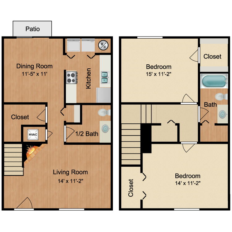 Floor plan image of 2 Bed 1.5 Bath Townhouse