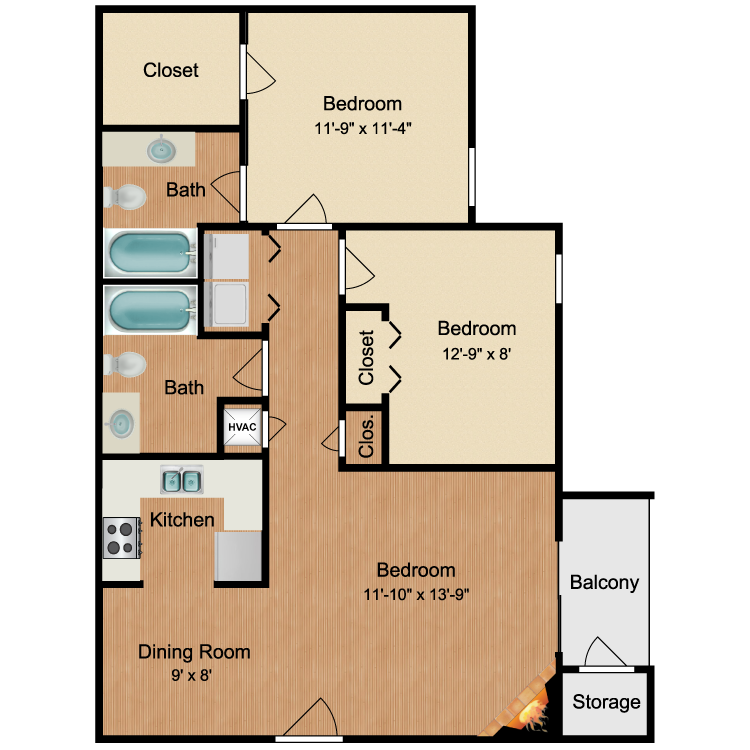 Floor plan image of 2 Bed 2 Bath Gardens