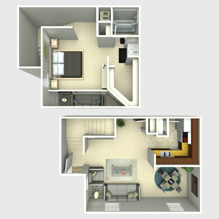 Floor plan image of 1 Bed 1 Bath TH