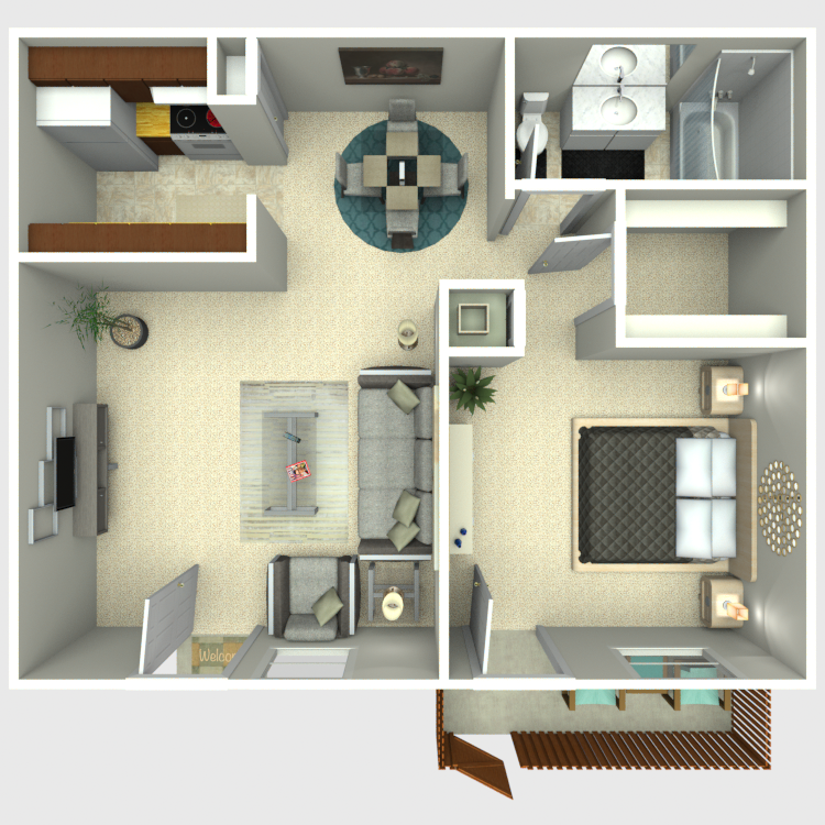 Floor plan image of 1 Bed 1 Bath B1
