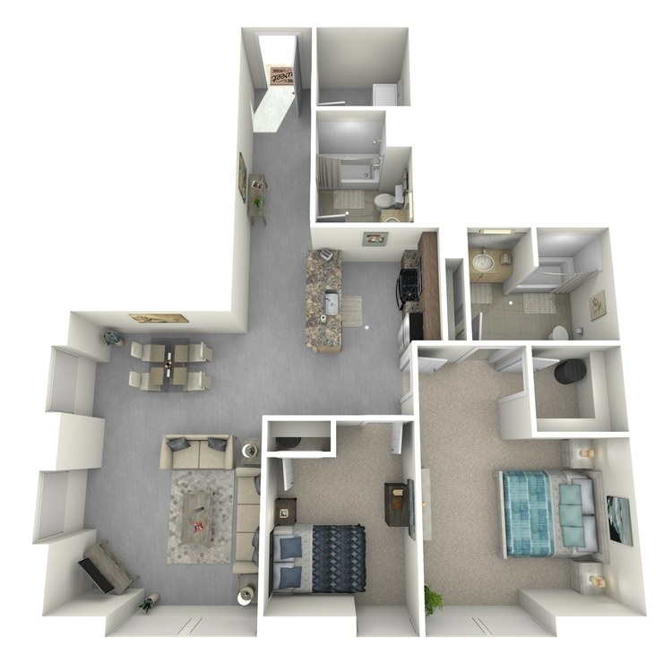 Floor plan image of Two Bed Two Bath A