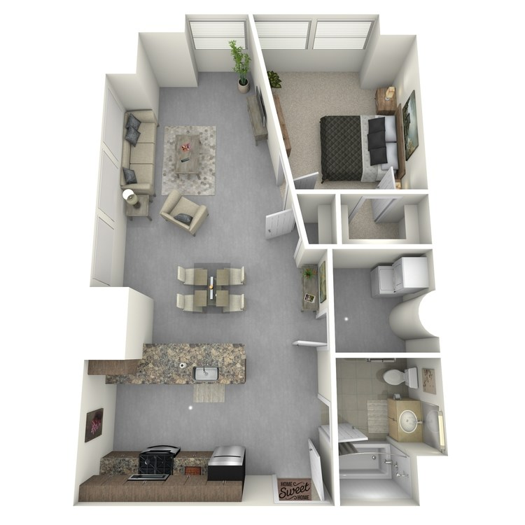 Floor plan image of One Bed One Bath C
