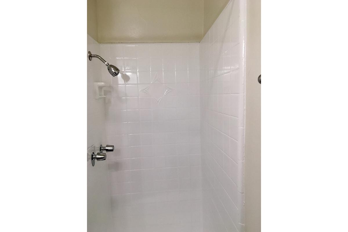 a shower stall in a room