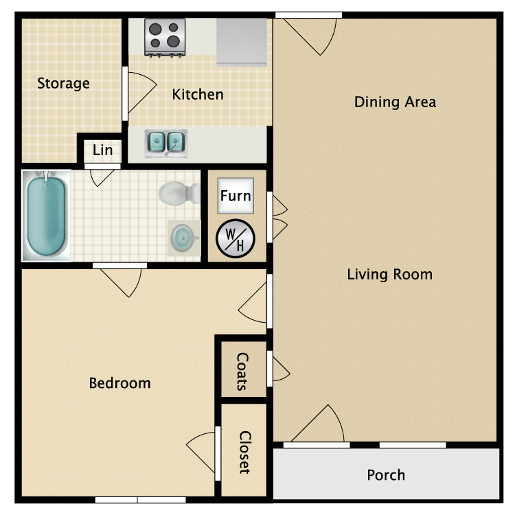 1 Bed 1 Bath Garden Furnish This Floor Plan