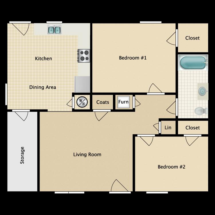 Floor plan image of 2 Bed 1 Bath Garden