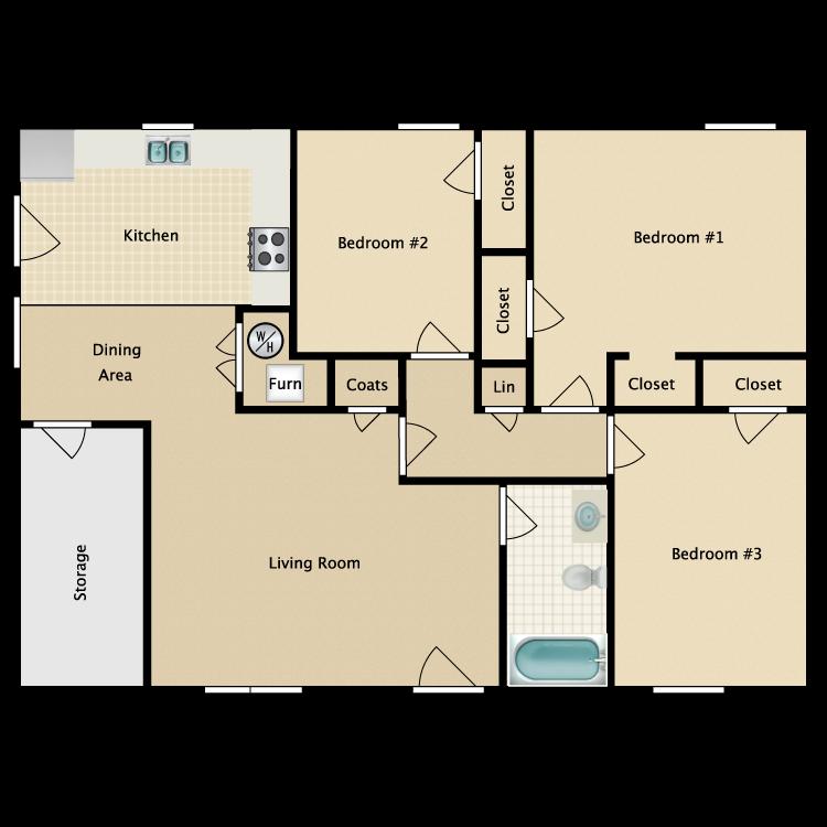 Floor plan image of 3 Bed 1 Bath Garden