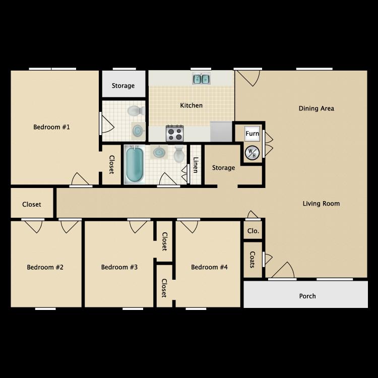 Floor plan image of 4 Bed 1.5 Bath Garden