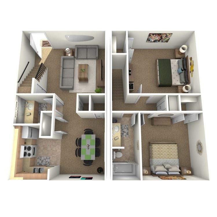 Floor plan image of 2 Bed 1.5 Bath TH