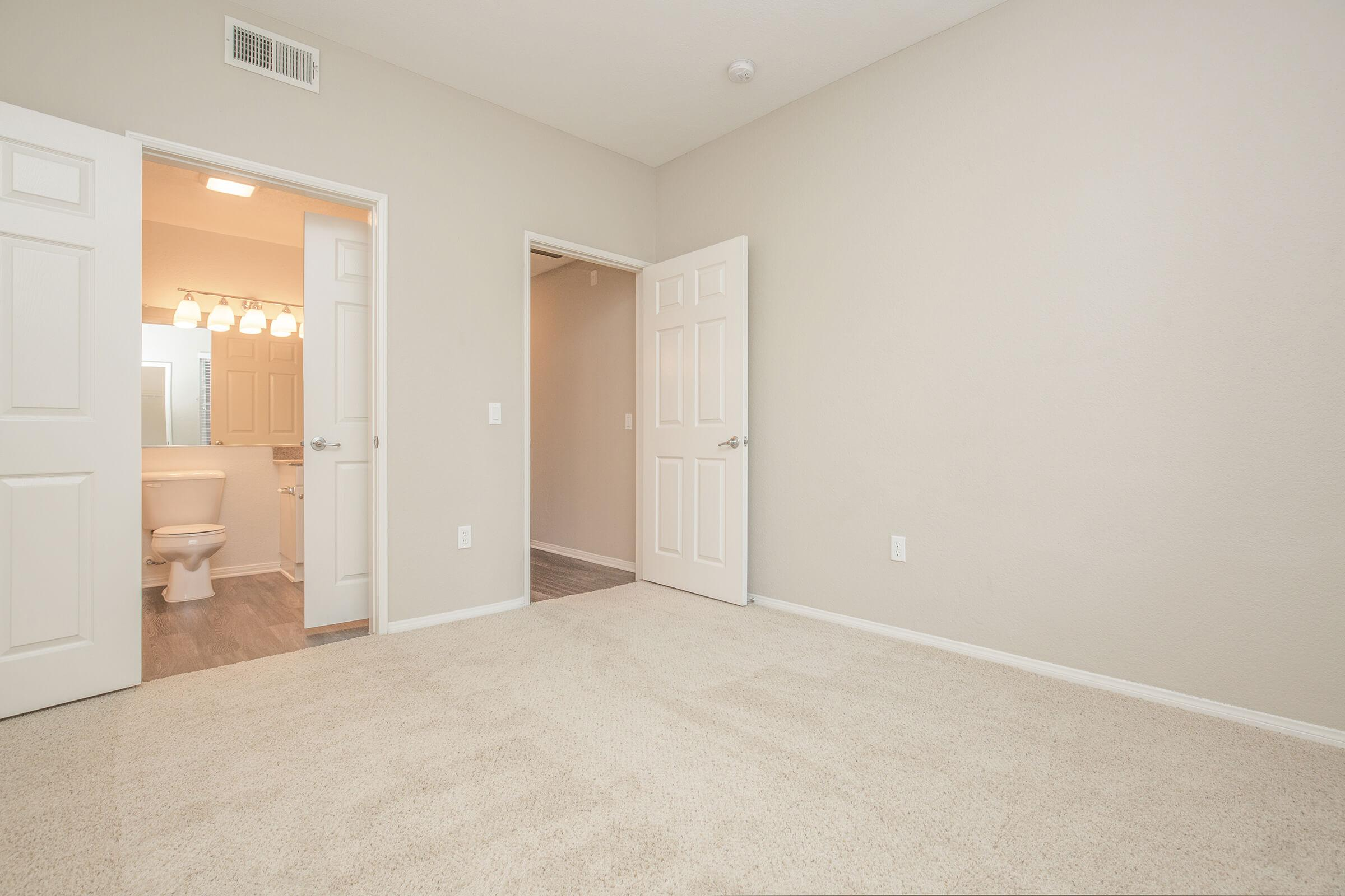 Carpeted bedroom with open bathroom and closet doors