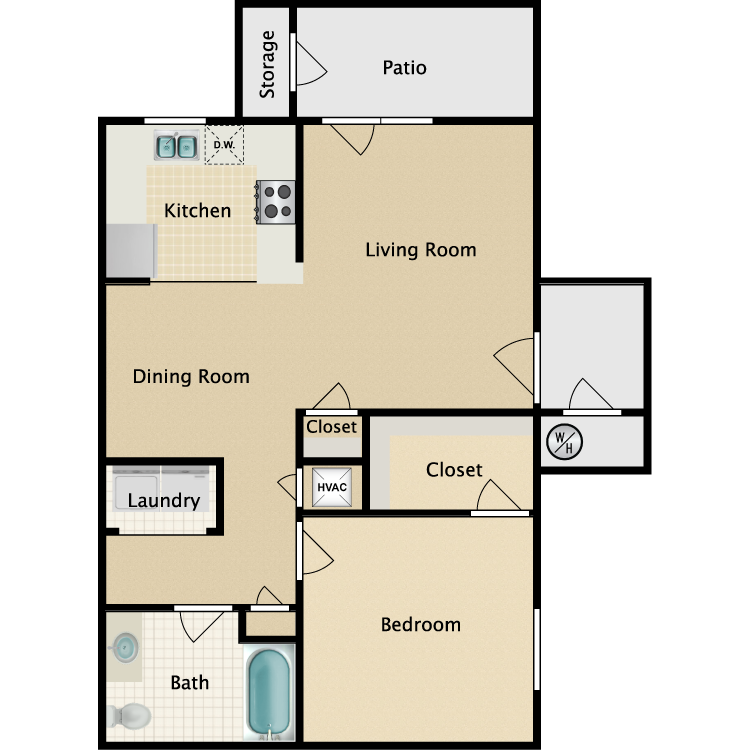 Floor plan image of 1 Bed 1 Bath