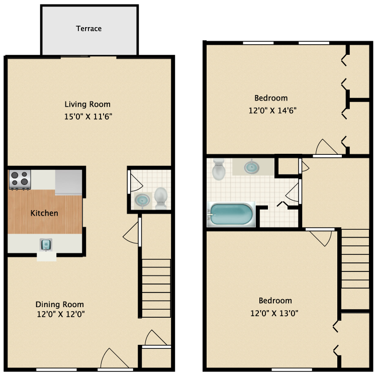 Floor plan image of Two Bedroom - various layouts
