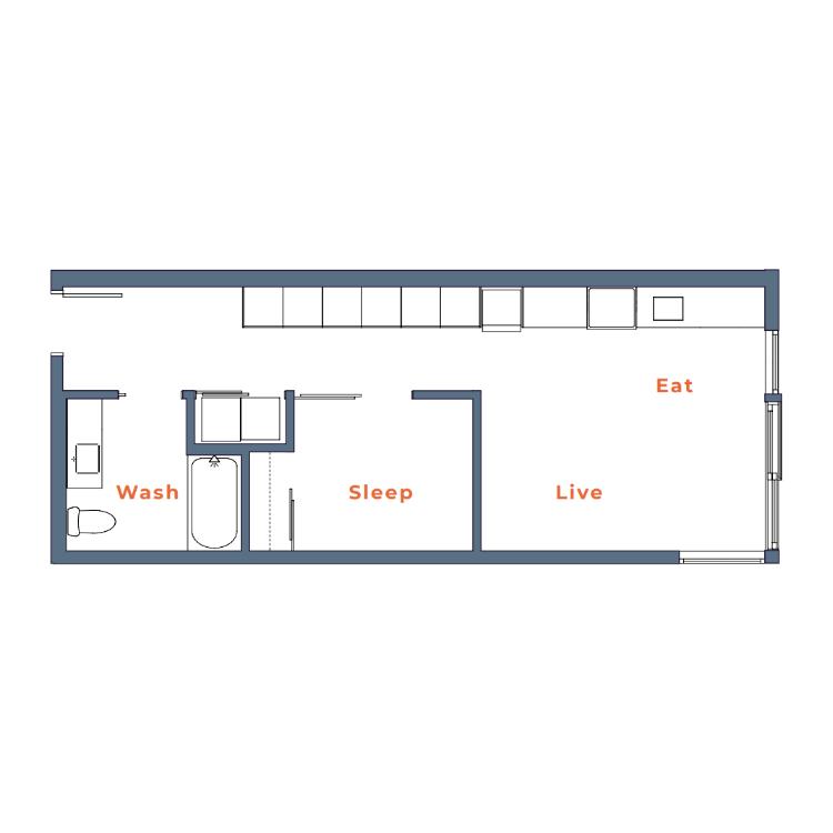 Floor plan image of Open One Bedroom