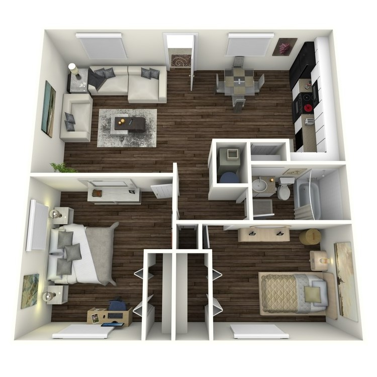 Floor plan image of 2 Bed 1 Bath 820 sq. ft.