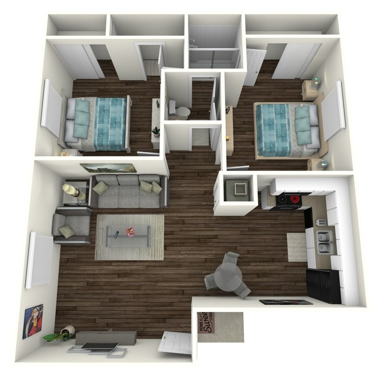 Floor plan image of 2 Bed 1.5 Bath Nest