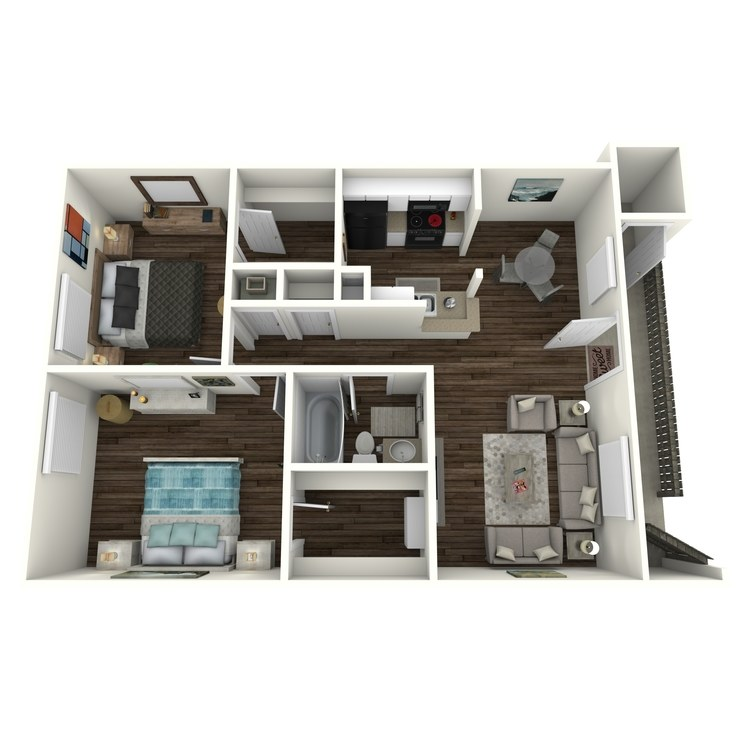 Floor plan image of 2 Bed 1 Bath Landing