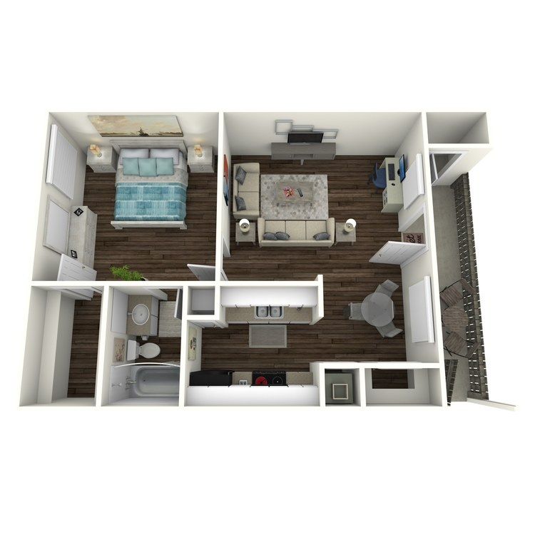 Floor plan image of 1 Bed 1 Bath Landing