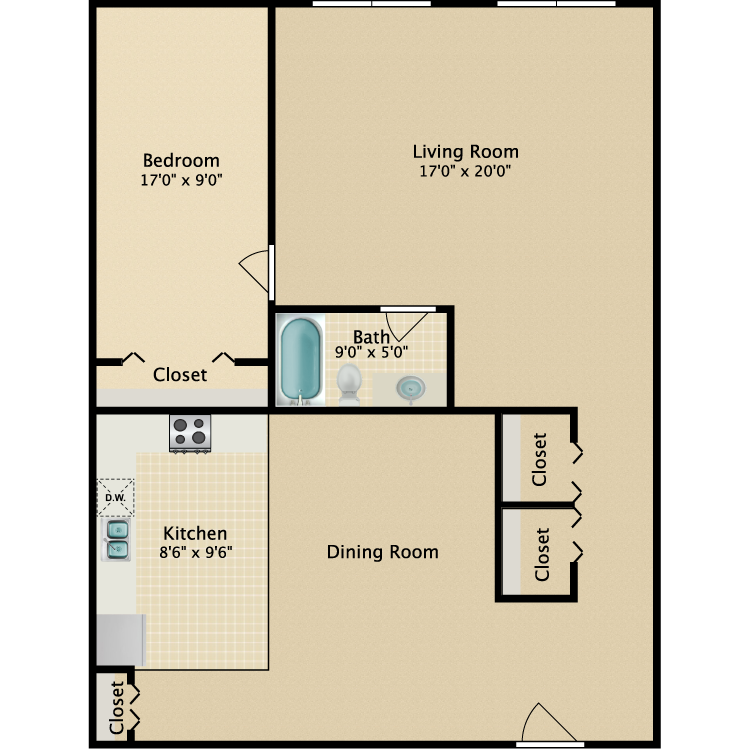 The Downtown floor plan image